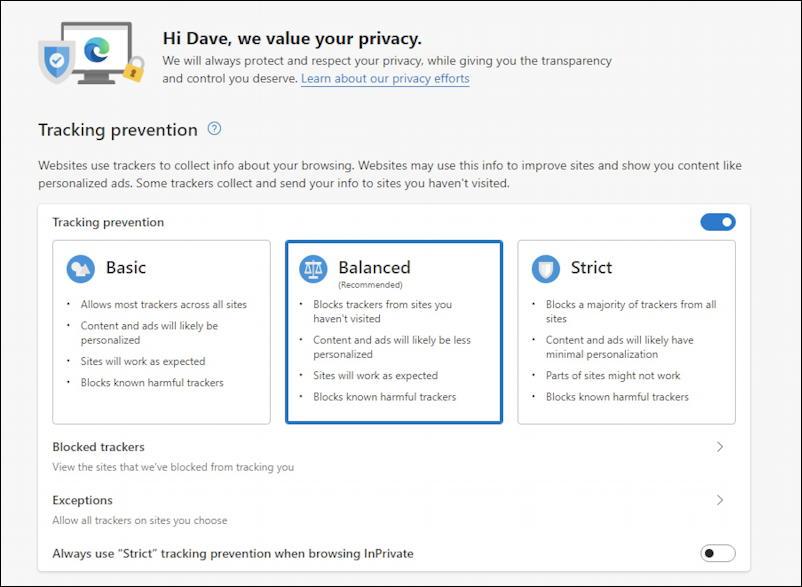microsoft edge windows privacy - tracking prevention
