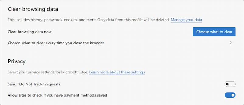 microsoft edge windows privacy - clear browsing data