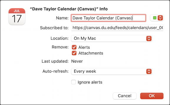 macos mac configure calendar subscription ical