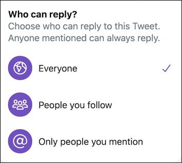 twitter tweet - who can reply?