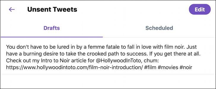 twitter tweet - unsent tweets drafts