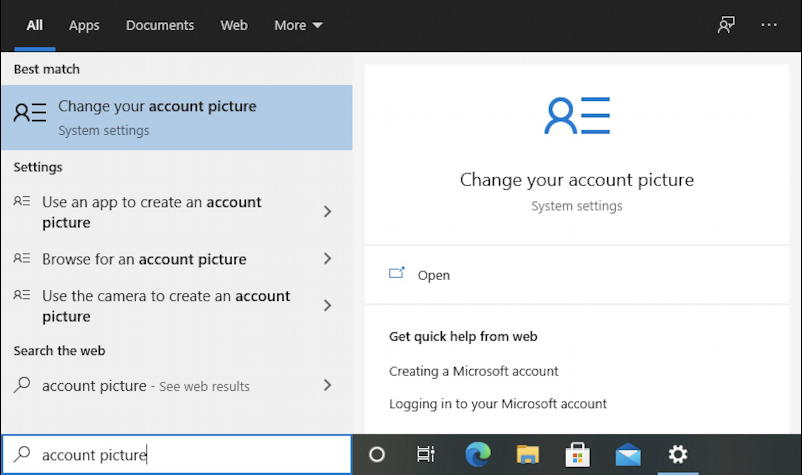 win10 search for 'account picture'