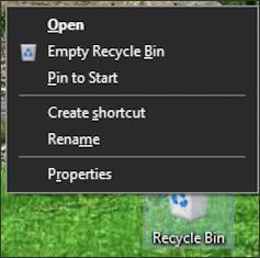win10 right click context menu - recycle bin