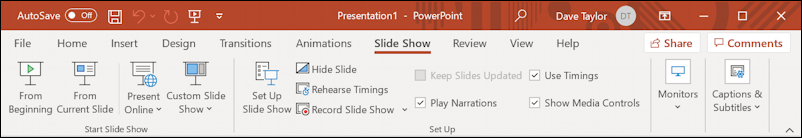 windows powerpoint slide show toolbar ribbon