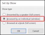 microsoft powerpoint in a window not full screen how