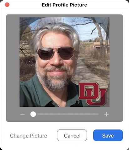 zoom profile picture centered