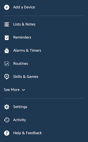 alexa app - main menu