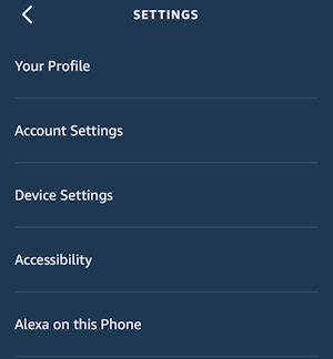 alexa app - settings menu