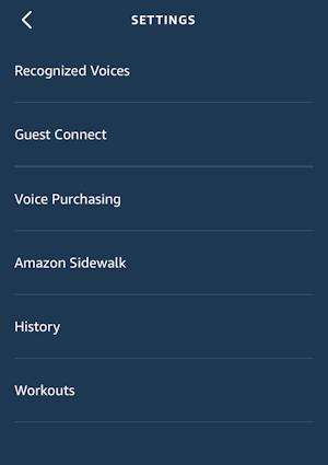 alexa app - account settings