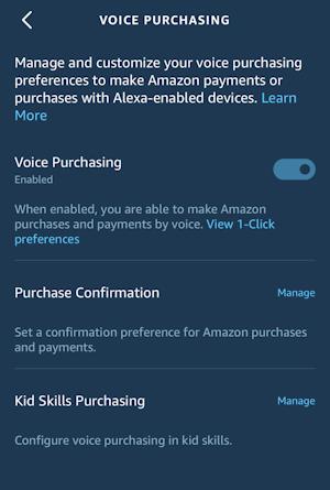 alexa app - settings - voice purchasing - disable kids children