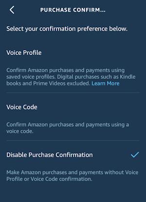 alexa app - settings - voice purchasing - confirmation