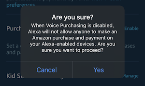 alexa app - settings - voice purchasing - confirm disable purchasing