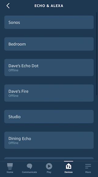 amazon alexa app - iphone ios - list of echo devices