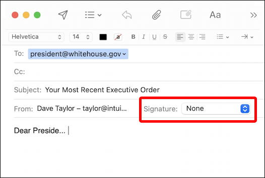 apple mail new message email compose window signature
