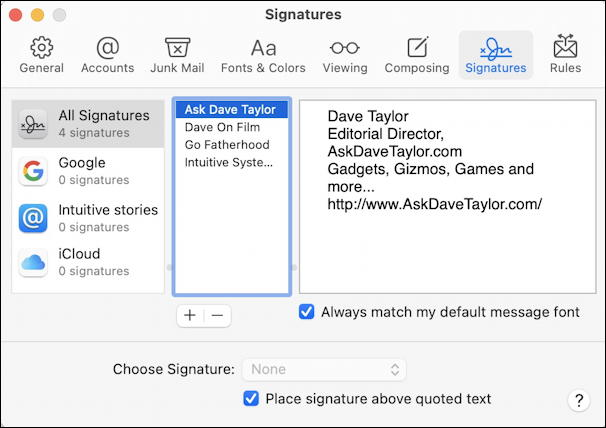 apple mail automatic default signature