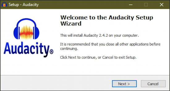 welcome to audacity setup wizard windows pc