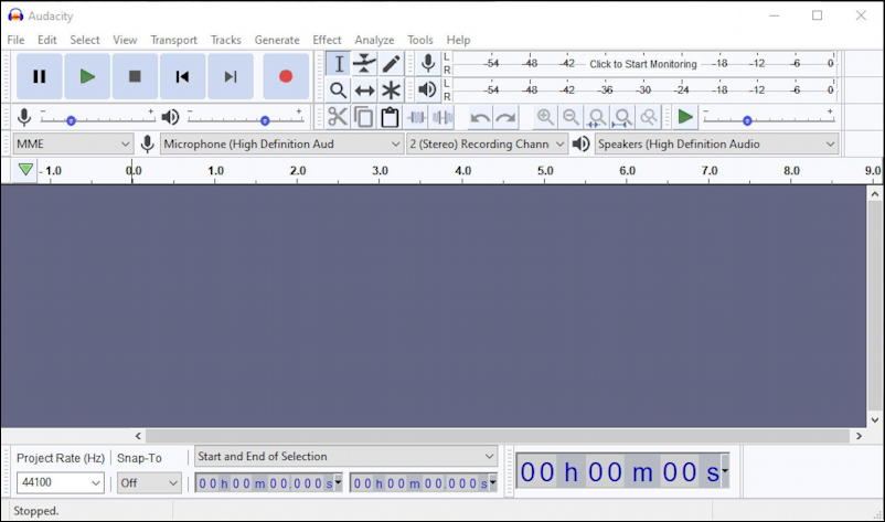 audacity windows pc - new blank window