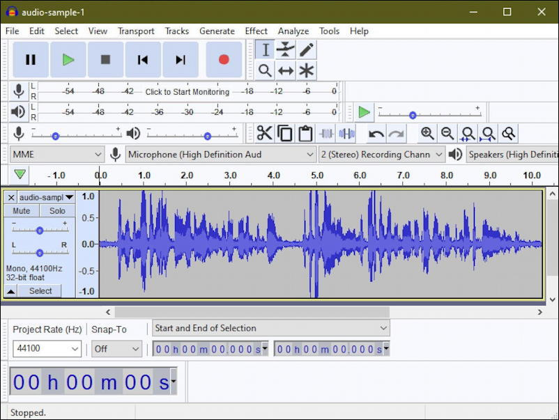audacity windows pc - waveform
