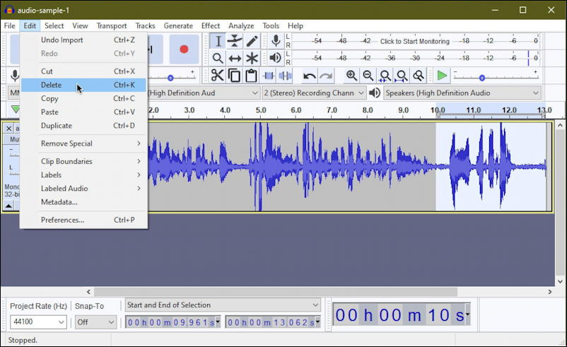 audacity windows pc - edit audio file recording