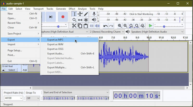 audacity file export as mp3