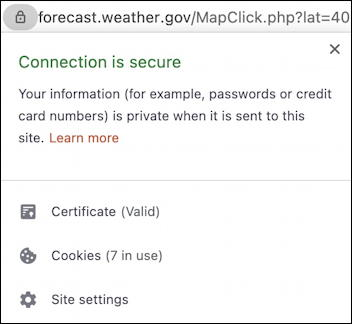 brave web browser address tool bar - connection secure certificate status