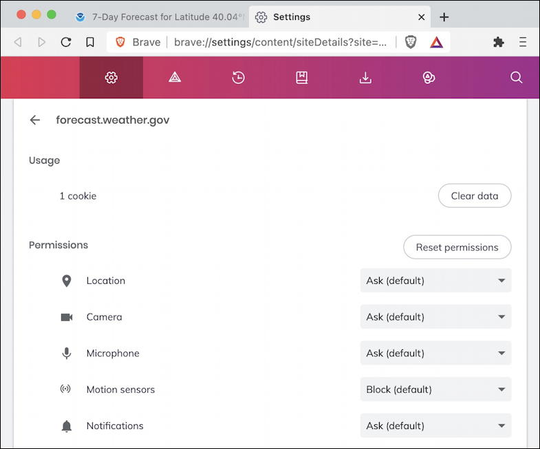 brave browser toolbar address bar - site settings access permissions