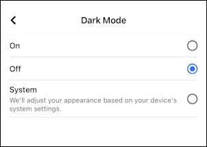 facebook for mobile iphone - dark mode settings