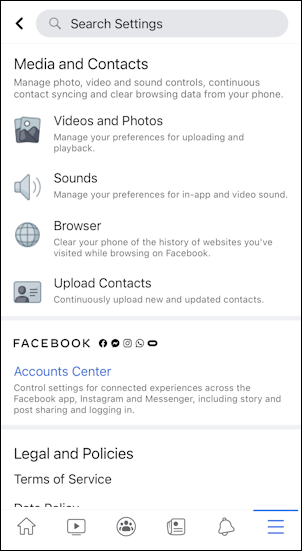 facebook for mobile iphone - media contacts photos video settings