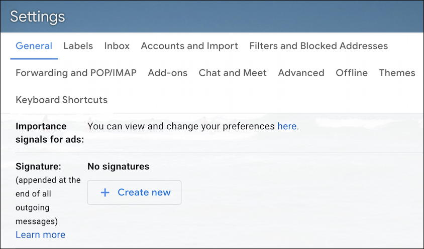 gmail settings - general - signature
