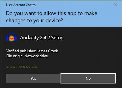 sure you want app to modify make changes to device install