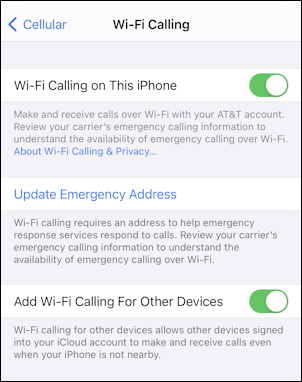 enable wifi calling at&t iphone - enabled