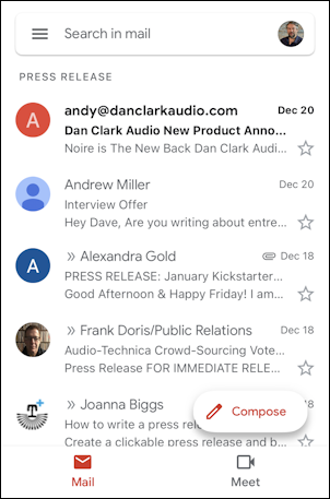 gmail for mobile iphone - folder label
