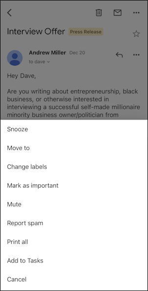 gmail for mobile iphone - main message menu