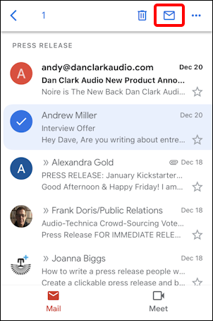 gmail for mobile iphone - message selected