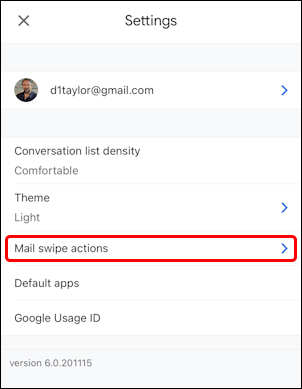 gmail for mobile settings - mail swipe actions