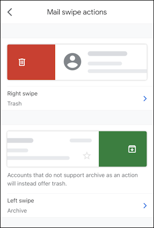 gmail for mobile settings - mail swipe actions - default
