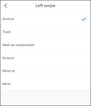 gmail for mobile settings - mail swipe actions - options