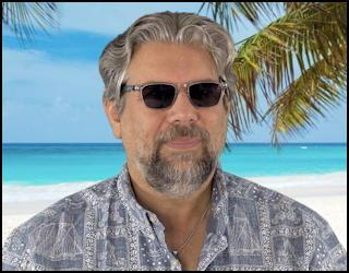 dave taylor wearing lucyd lyte bluetooth sunglasses beach hawaii tropical