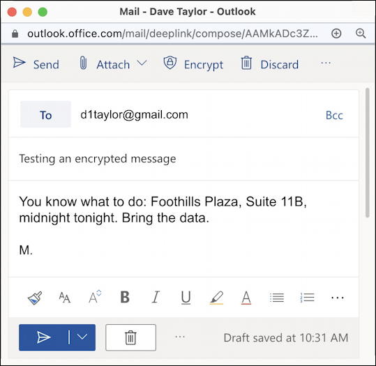 email message in outlook.com