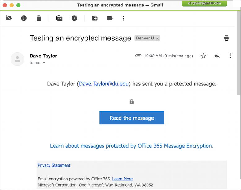 outlook encrypted email message - received in gmail