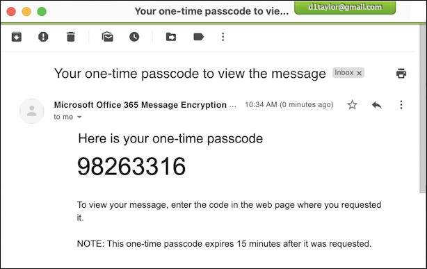 outlook encrypted email message - secret passcode
