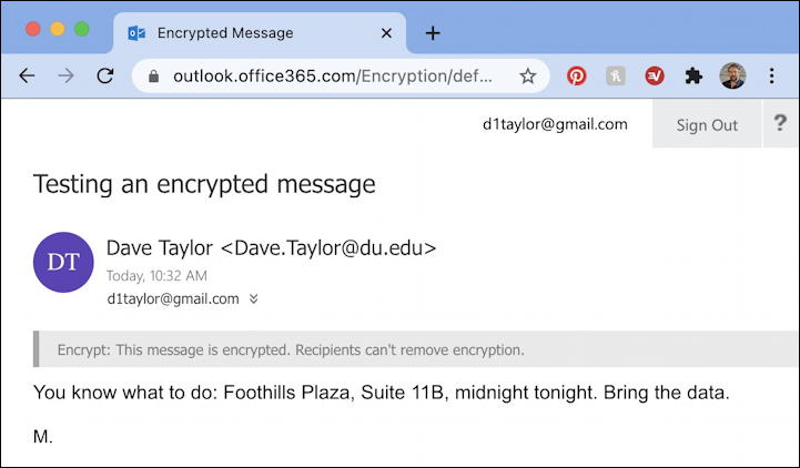 outlook encrypted email message - readable decrypted
