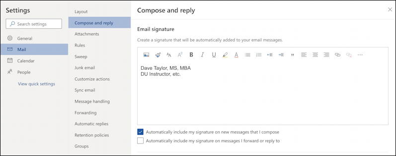 outlook.com main settings area