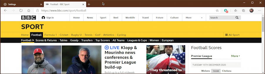 bbc news sports - microsoft edge