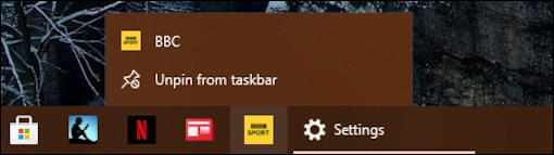 delete remove web page pin taskbar windows 10 pc