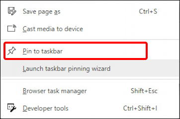 microsoft edge - pin web page tab to taskbar