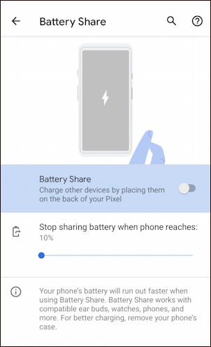 google pixel 5 - battery share - settings