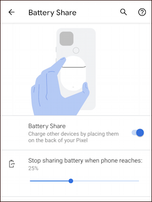 google pixel 5 - battery share - stop sharing level