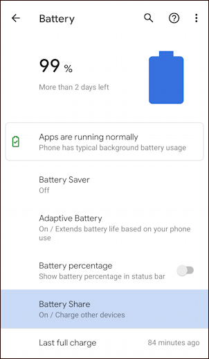google pixel 5 - battery share - battery settings management