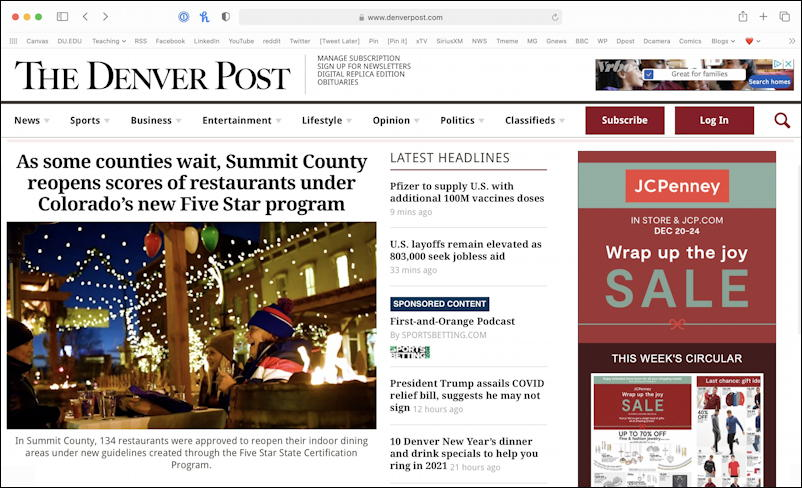 denver post in mac safari web browser